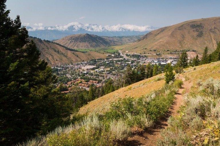 The Josie's Ridge Trail descending toward the town of Jackson, Wyoming