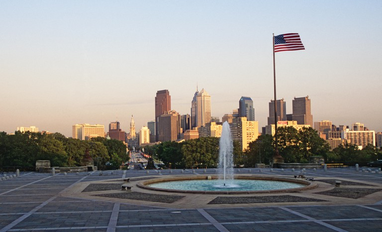 Philadelphia skyline from the Rocky Steps